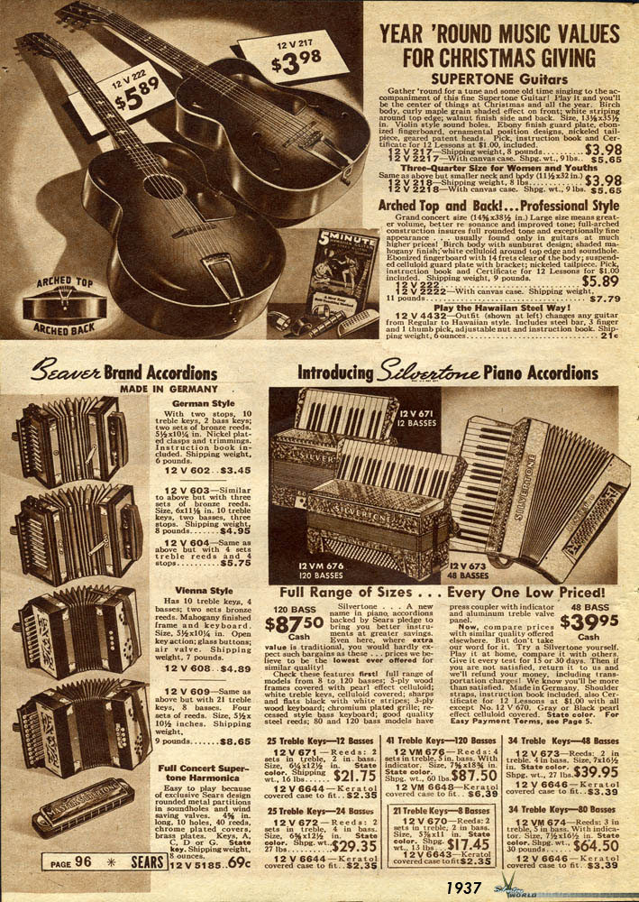 Silvertone World Sears Wish Book Pages 1937 1975