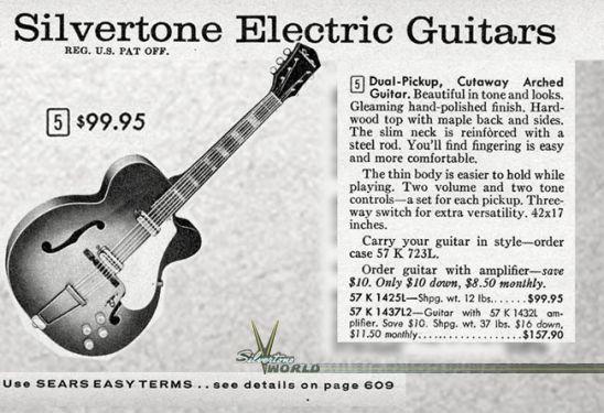 Silvertone 1425 1950's Sunburst   Reverb