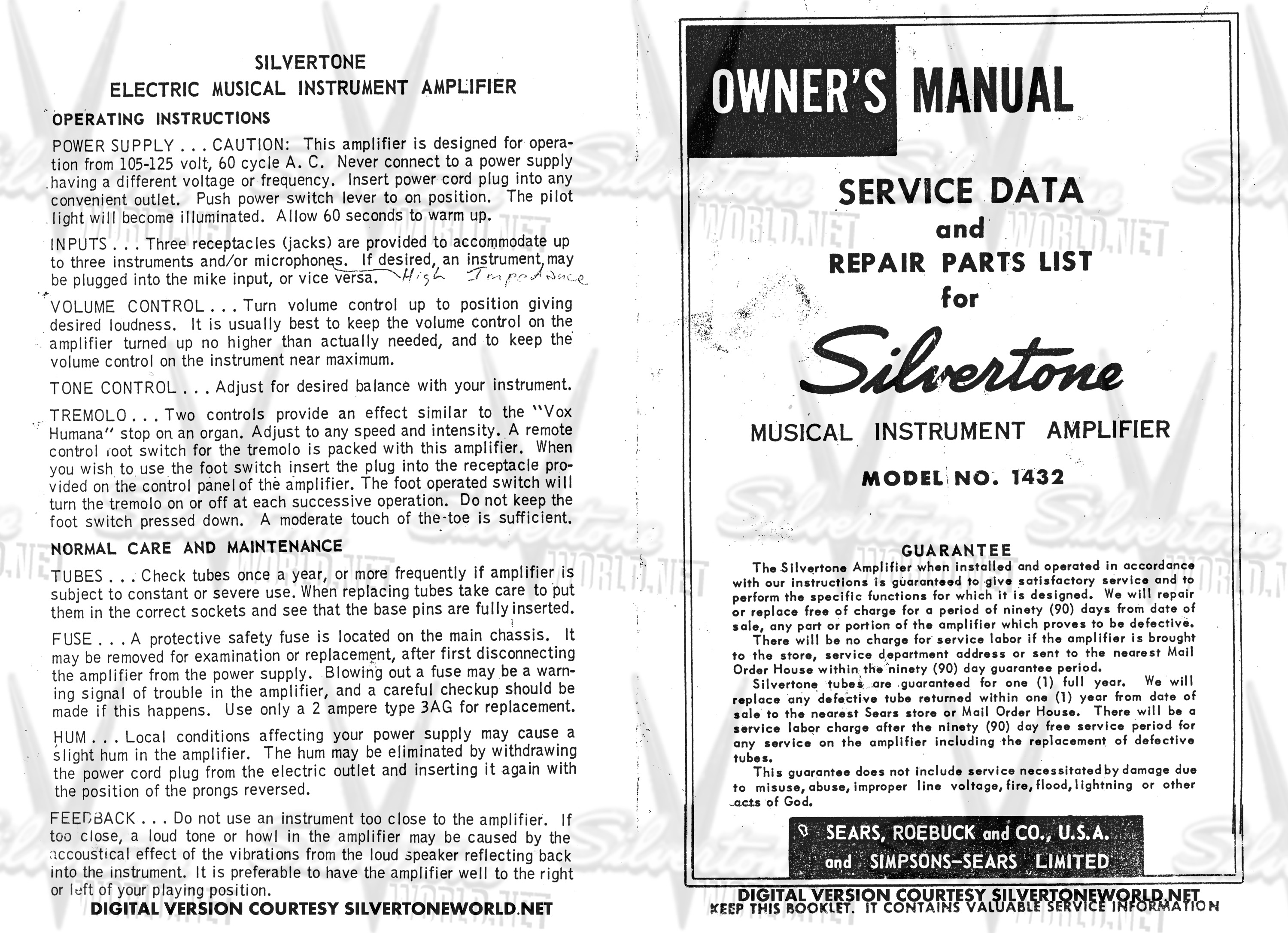 Silvertone World Division 57 Schematics Manuals And Publications Wiring Diagram