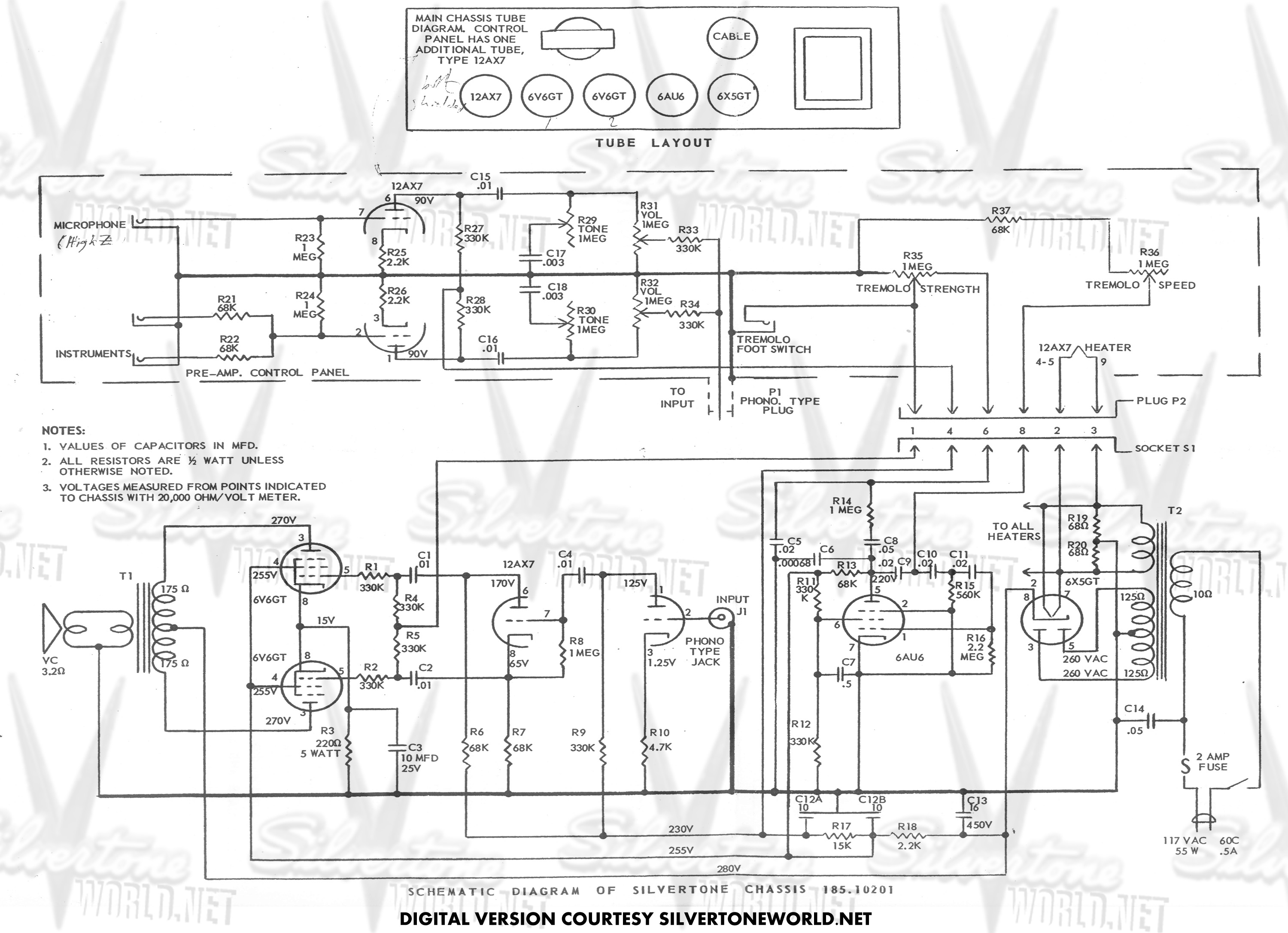 silvertone world - division 57 - schematics, manuals and ... silver tone guitar wiring diagrams dimarzio bass guitar wiring diagrams #9