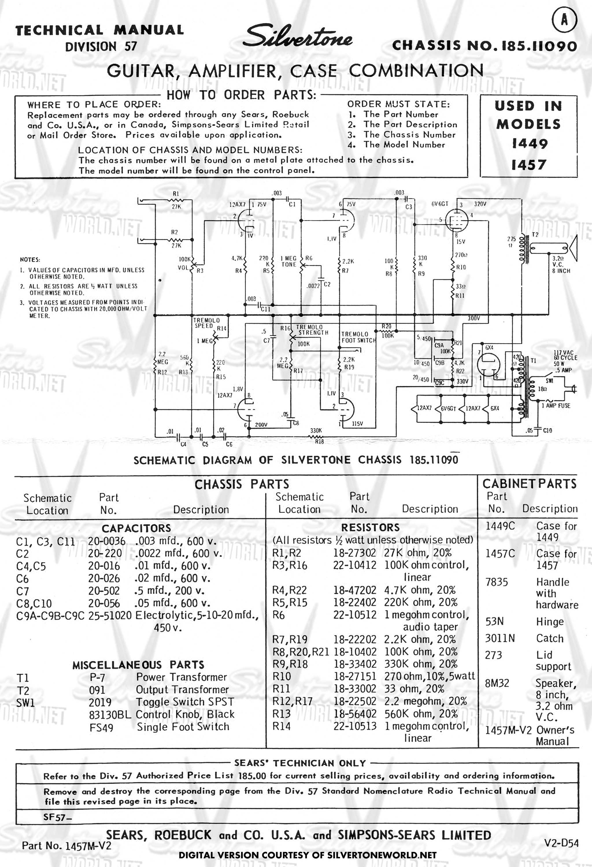 silvertone world division 57 schematics, manuals and publications Jbl Wiring Diagram silvertone wiring diagram  #9 Pressure Switch Wiring Diagram