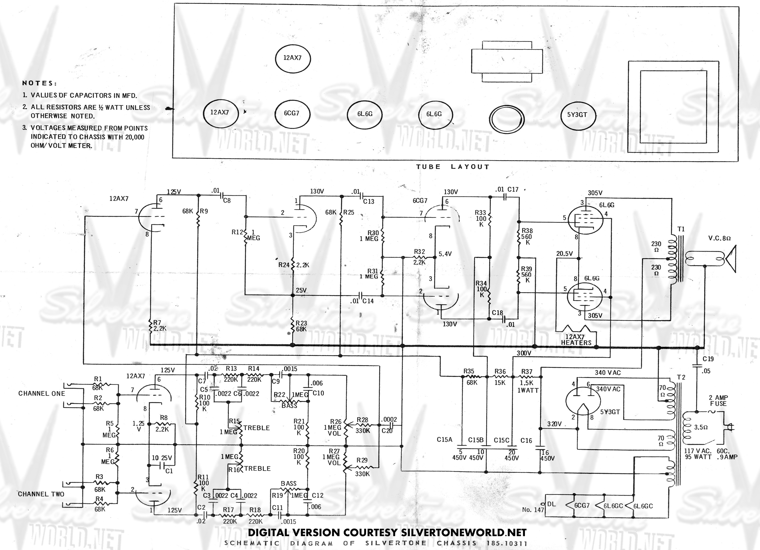 silvertone world - division 57 - schematics, manuals and ... electric guitar wiring diagrams volume tone