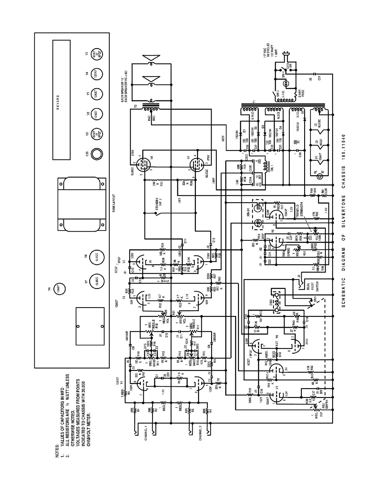 silvertone world - amplifiers - 1960s - model 1484 - schematic  silvertone world